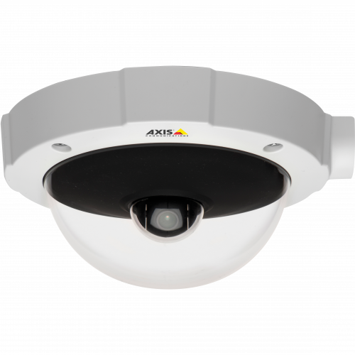 AXIS M5014-V PTZ Camera has Power over Ethernet and HDTV 720p and H.264. The camera is viewed from its front.