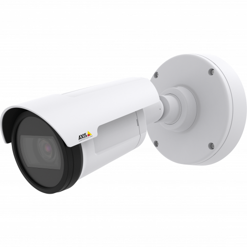 AXIS P1427-LE is a compact bullet camera for outdoor use with built-in IR. The camera is viewed from its left.