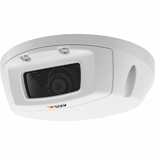AXIS P3905-RE is an outdoor-ready camera for onboard surveillance. The camera is viewed from its left.