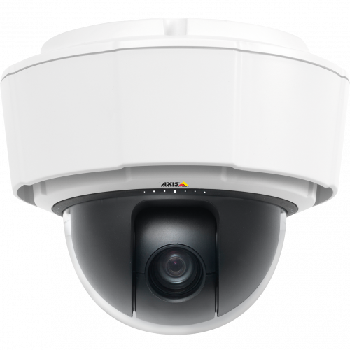 AXIS P5514-E PTZ is an outdoor-ready IP camera in compact design. The camera is viewed from its front.
