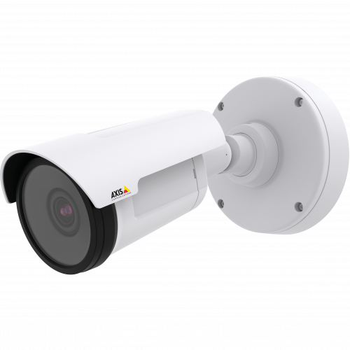AXIS P1435-E is a compact IP camera with lightfinder and WDR – Forensic Capture. The camera is viewed from its left.