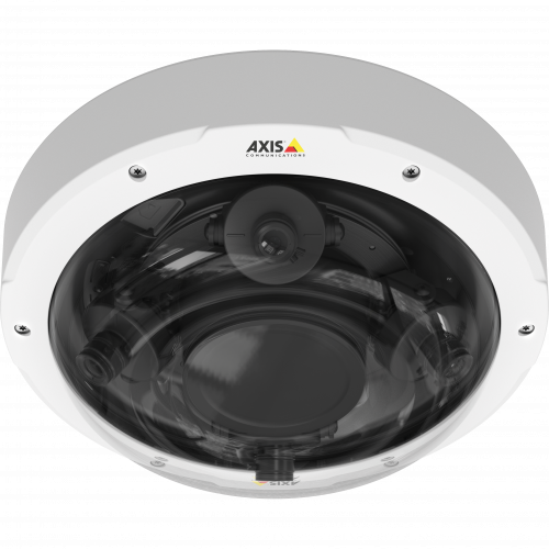 AXIS P3707-PE is a flexible, 360° multisensor IP camera for outdoor uses. The product is viewed from its front.