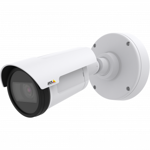 AXIS P1425-LE Mk II is a compact, outdoor-ready bullet camera in white color with OptimizeR.