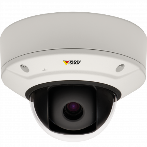AXIS Q3505-V is an IP camera for indoor use with Lightfinder and Zipstream technology. The camera is viewed from its front.