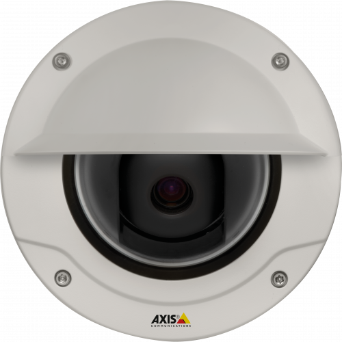 AXIS Q3505-VE Mk II is a fixed dome IP camera with lightfinder technology. The camera is viewed from its front.