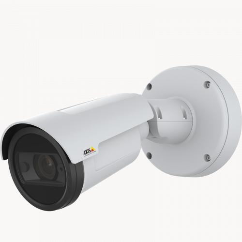AXIS P1447-LE IP Camera has Zipstream functionality. The product is viewed from its left.