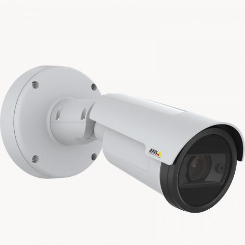 AXIS P1447-LE IP Camera, wall mounted and viewed from its right angle