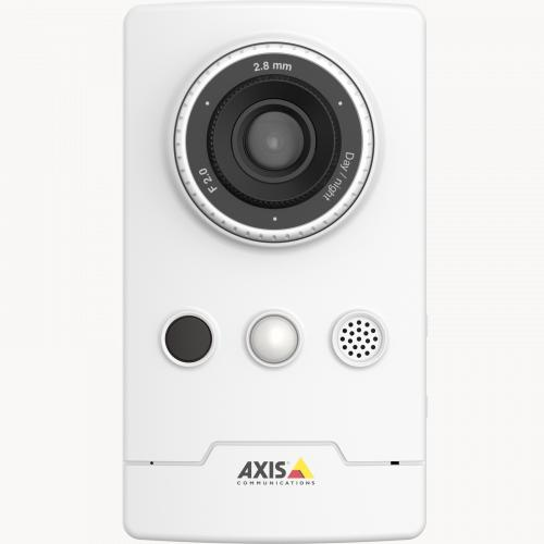 AXIS M1065-LW IP camera with edge storage. The camera is viewed from its front.