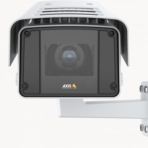 AXIS Q1647-LE IP Camera with included analytics, viewed from its front.