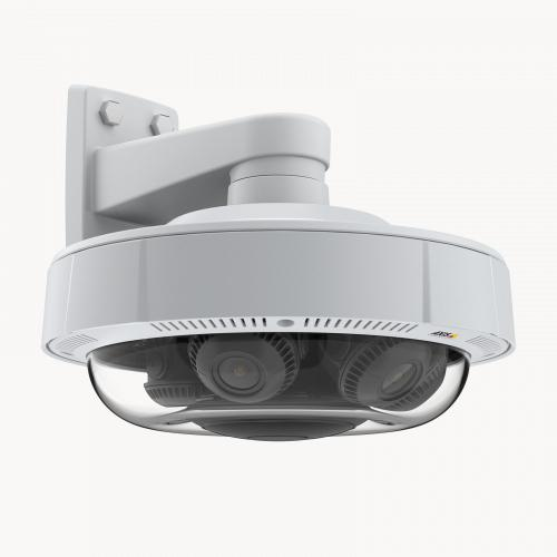 AXIS P3719-PLE is mounted to a wall and viewed from its right angle.