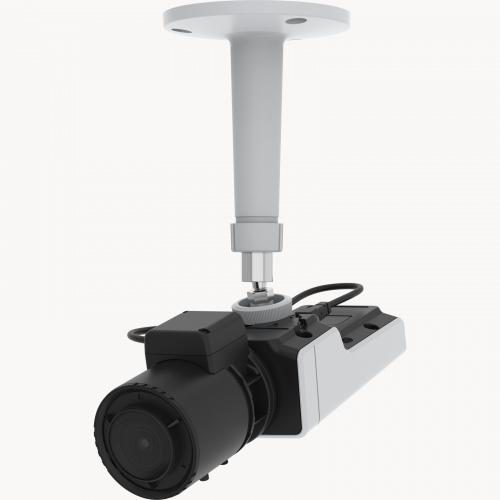 AXIS M1137 Network Camera has a flexible design. The camera is viewed from its left angle, mounted in the ceiling.