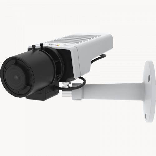 AXIS M1137 Network Camera has a flexible design. The camera is viewed from its left angle.