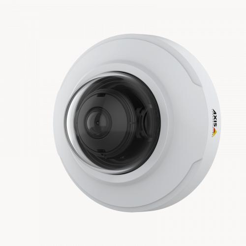 AXIS M3066-V IP Camera mounted on wall from left angle