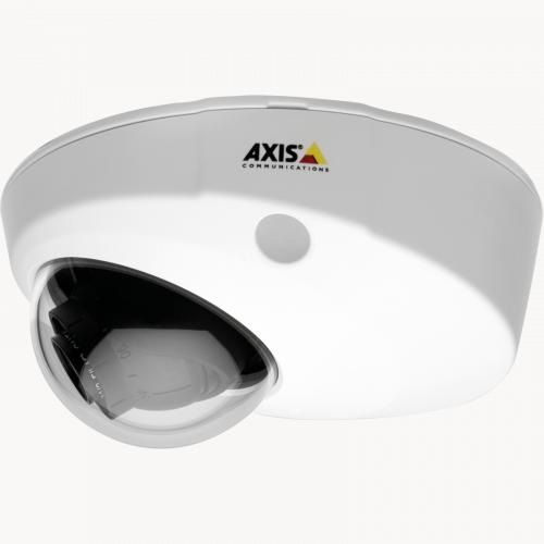 AXIS P3904-R Mk II IP Camera has WDR and Lightfinder. The product is viewed from its left profile.