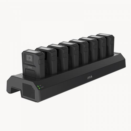 AXIS W701 Docking station 8-bay from left angle