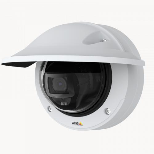 AXIS P3247-LVE Network Camera from left angle.