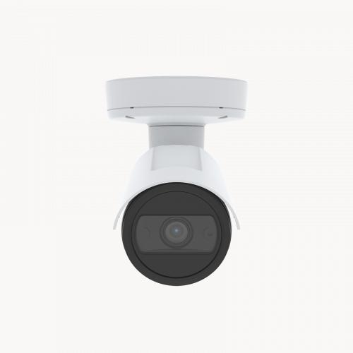 AXIS P1455-LE is an outdoor-ready fixed bullet IP camera with Lightfinder and Forensic WDR. The camera is viewed from its front.