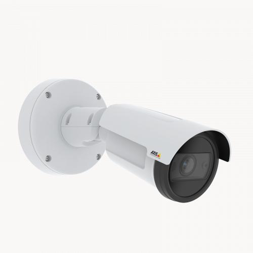 AXIS P1455-LE is an outdoor-ready fixed bullet IP camera with Lightfinder and Forensic WDR. The camera is viewed from its right angle.