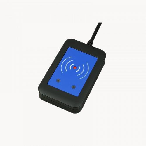 External RFID Card Reader 125kHz + 13.56MHz with NFC (USB), viewed from its left angle