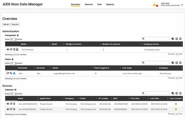 AXIS Store Data Manager screenshot