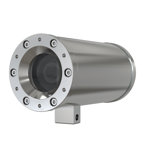 ExCam XF M3016 Explosion-Protected Network Camera has a compact design. The product is viewed from its left angle.