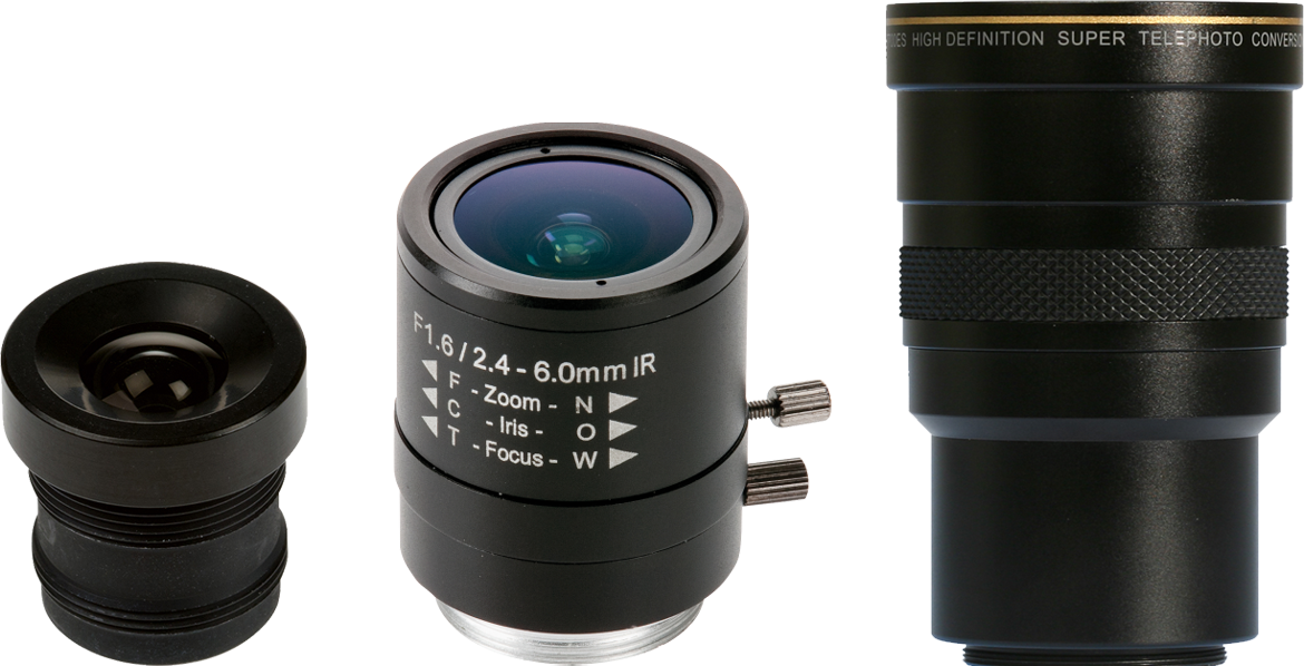 A fixed focal lens (left), a varifocal lens (center) and a zoom lens (right).