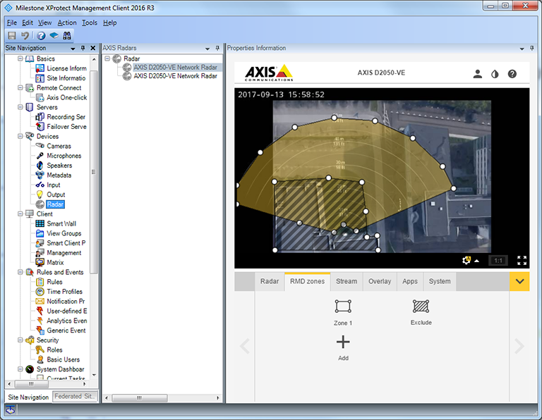 Screenshot of Radar Configuration Plugin