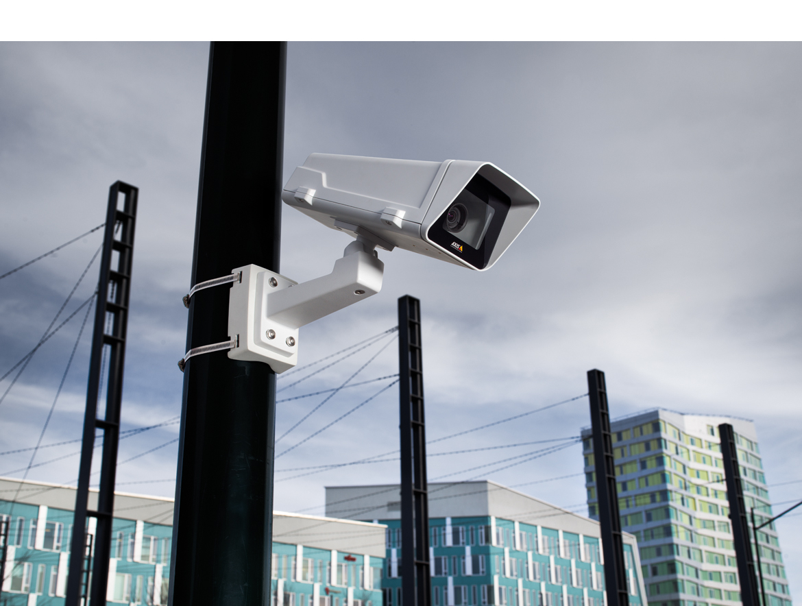 Axis outdoor camera next to an office building