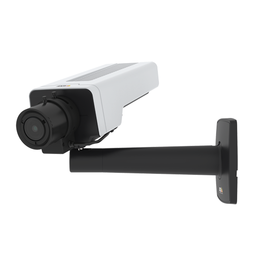 AXIS P1377 IP Camera has Lightfinder and Forensic WDR. The product is viewed from its left.