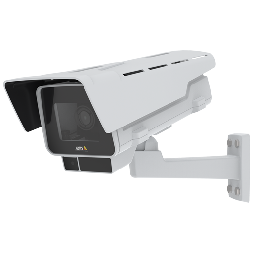 AXIS P1377-LE IP Camera has OptimizedIR and Forensic WDR. The product is viewed from its left angle.