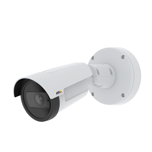 AXIS P1455-LE IP Camera is an an outdoor-ready fixed bullet camera with Lightfinder and Zipstream. The camera is viewed from its left angle.