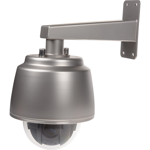 AXIS Q6055-S PTZ Network Camera mounted on a wall with a left angle