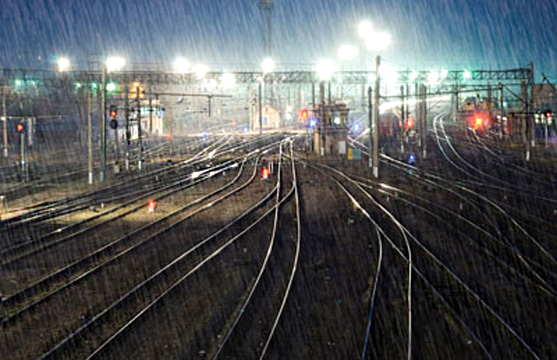 Rainy evening at the train yard