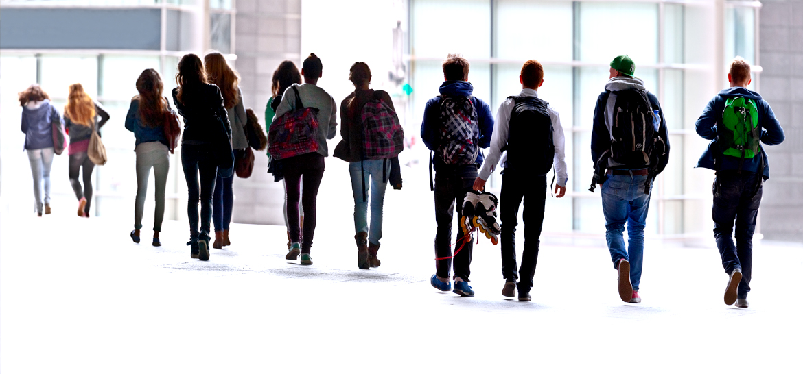 Education - teenagers walking silhouette