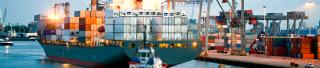 Maritime banner - container ship in harbour