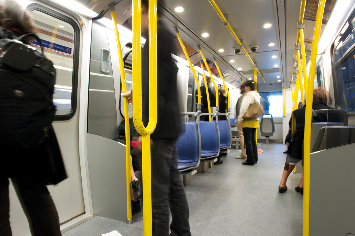 Passengers onboard a subway train