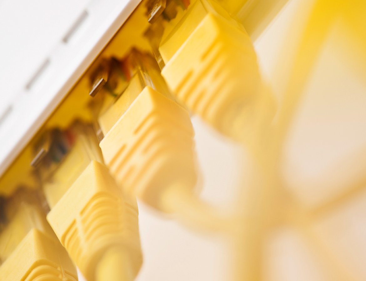 Yellow network cable closeup