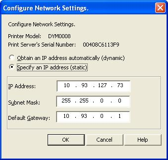 Assigning ip address